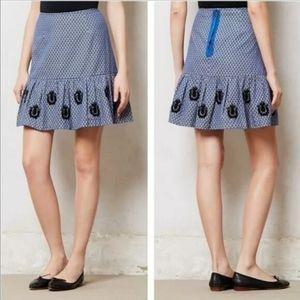 Anthropologie Leifsdottir Catline Blue Tan Skirt 6